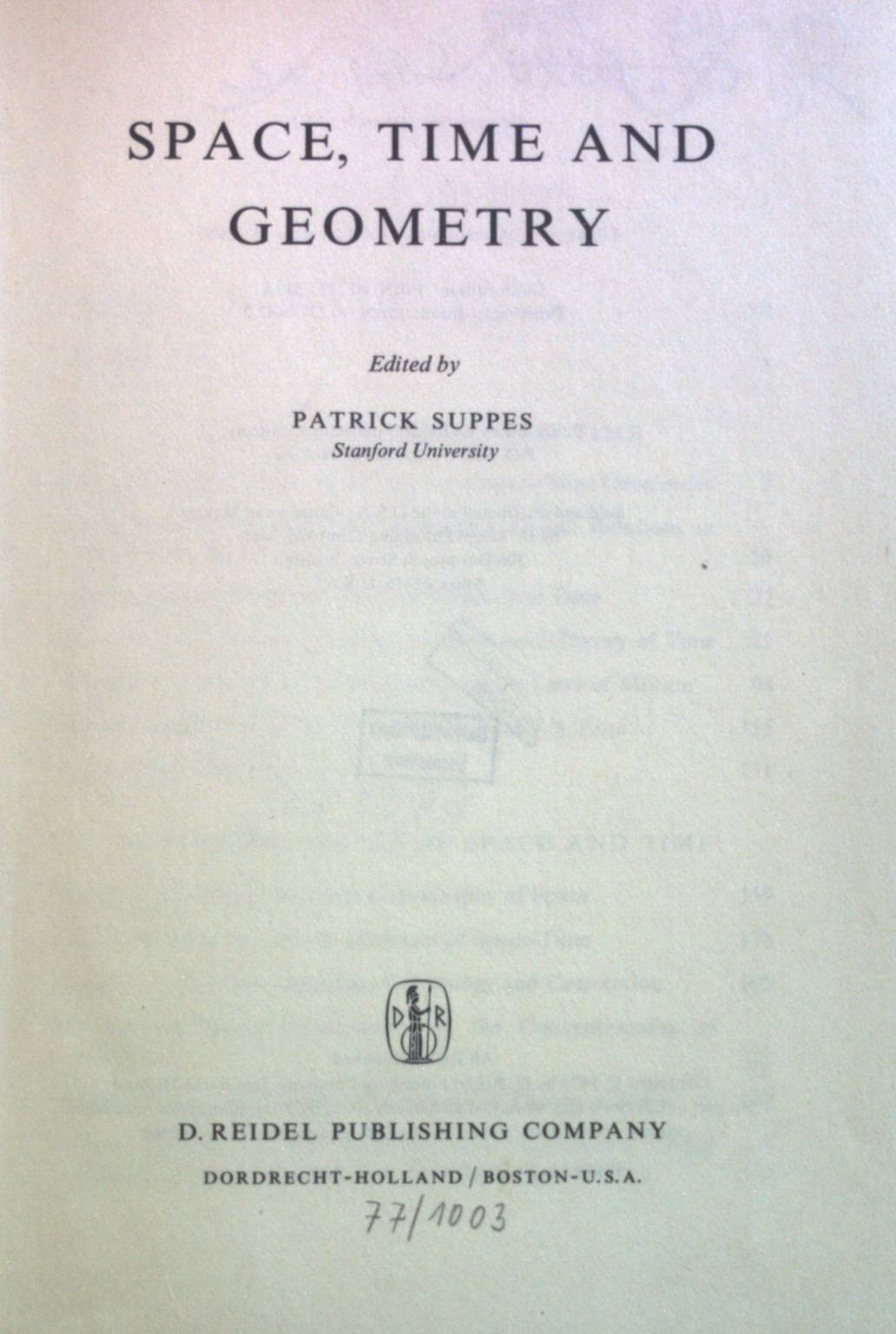 Space, Time and Geometry. Synthese Library First Printing - Suppes, Patrick