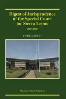 Digest of Jurisprudence of the Special Court for Sierra Leone: 2003-2005