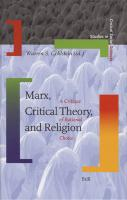 Marx, Critical Theory, and Religion