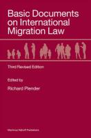 Basic Documents on International Migration Law: Third Revised Edition