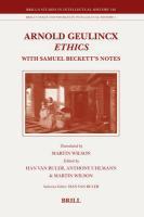 Arnold Geulincx Ethics