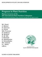 Progress in Plant Nutrition: Plenary Lectures Of The Xiv International Plant Nutrition Colloquium: Food Security And Sustainability Of Agro-Ecosystems ... in Plant and Soil Sciences (98), Band 98)